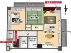コスモ茨木205号室鳥瞰図